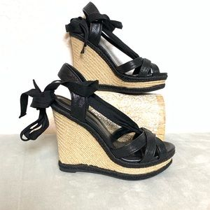 NWOB WHBM lace up espadrille wedge sandals size 7